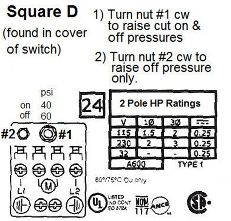 square d 30 50 low pressure cut switch