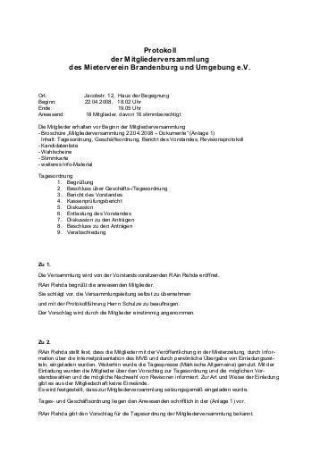 protokoll der  mitgliederversammlung des vereins