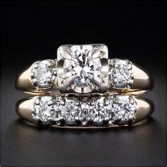 vintage wedding ring set   tone elegance