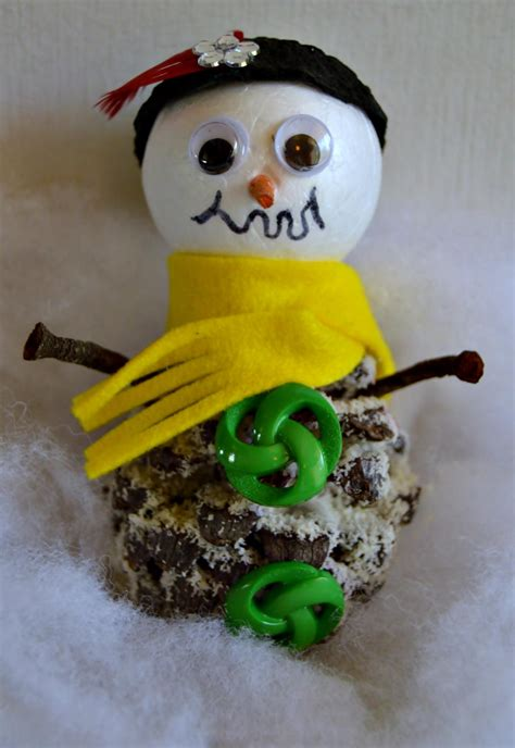 cute  pinecone snowman craft