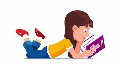 Lying Floor Reading Clip Kid Cartoon Lie