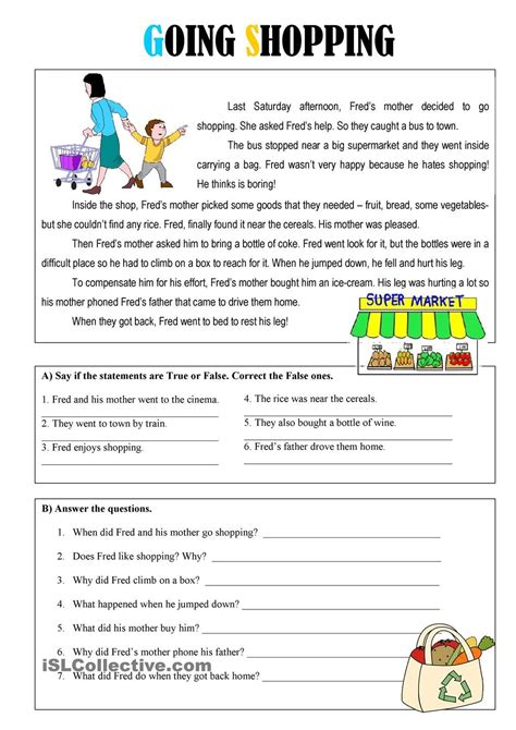 Some of the worksheets displayed are reading grade 7, reading comprehension practice test, grade 7 english language arts practice test, your amazing brain. Going Shopping | Reading comprehension worksheets, Reading ...