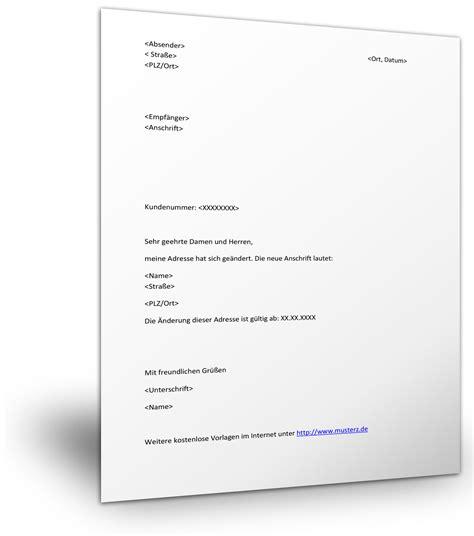 mustervorlage fuer die adressaenderung wegen umzug