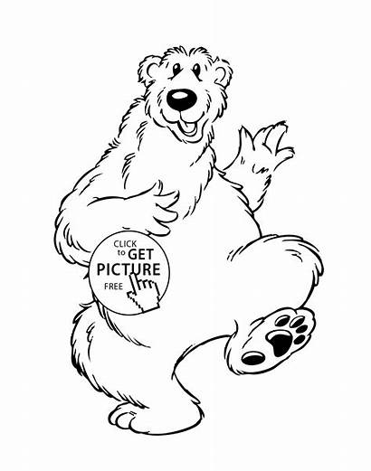 Coloring Funny Bear Pages Cartoon Animals Printable