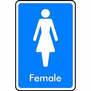 Quotfemale symbol toilet sign with name femalequot kpcm display for Male female bathroom sign images