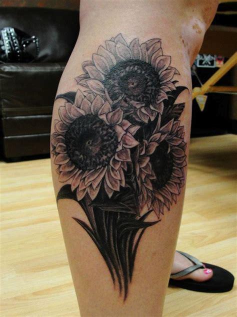 Black And White Sunflower Tattoo Sleeve