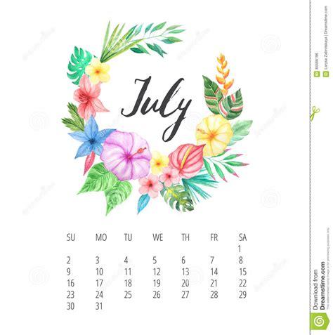 watercolor calendar template  july  year stock