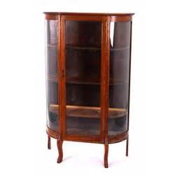antique curved glass oak curio cabinet