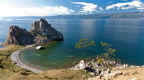 russia lake coast baikal crag nature  wallpaperscom