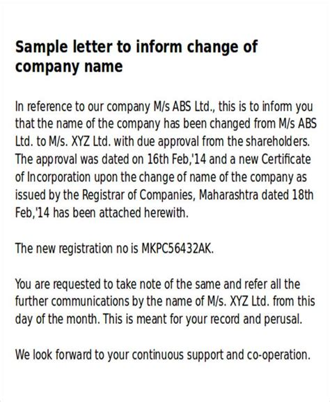 sample business  change letter  examples  word