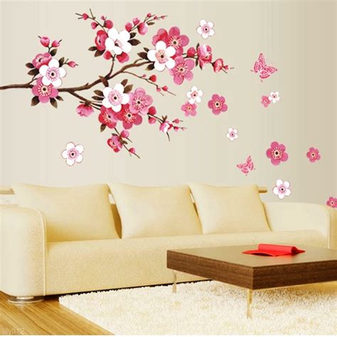 wall decoration stickers new room blossom flower butterfly wall sticker vinyl