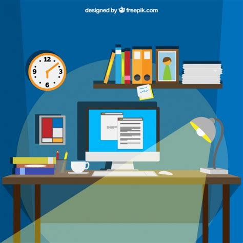 industrial style desk workspace in style vector free