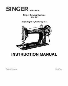 Singer Model 66 Sewing Machine Instruction Manual