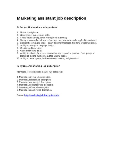 marketing assistant description specification of