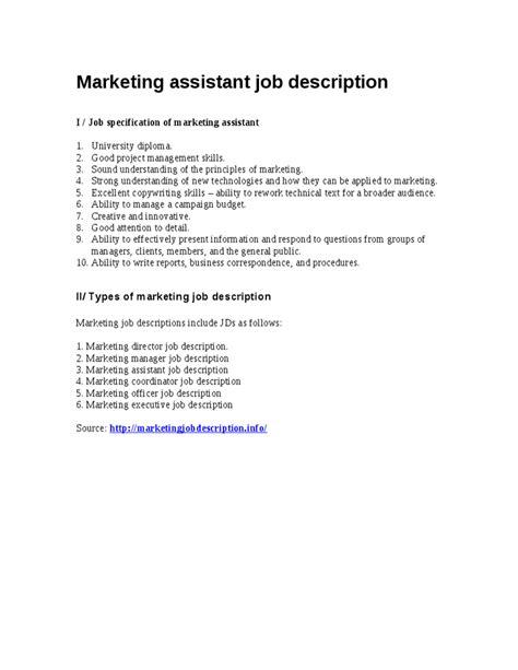 Marketing Assistant Job Description Samples