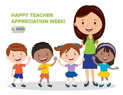 Teacher Week Cartoon Students Teachers Children Learning