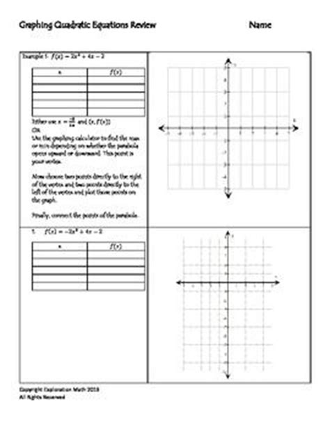 Math Worksheets Go Graphing Calculator  Graphing Quadratics Exploration Worksheet For Ti