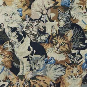 tapestry upholstery fabric cats orange brown black gray