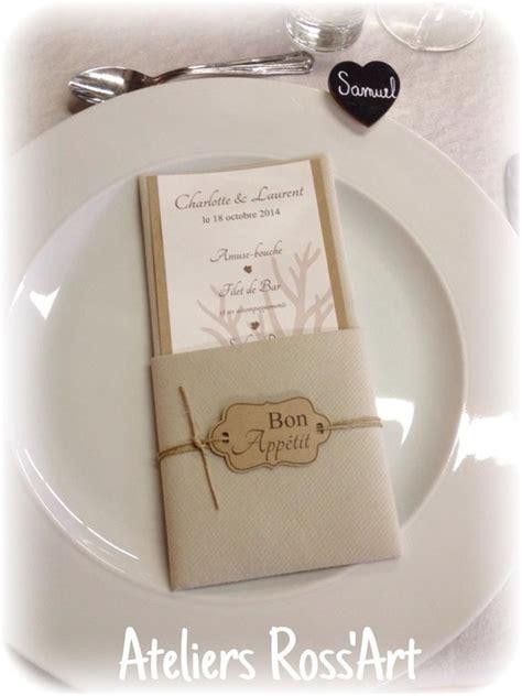 pliage serviette porte menu menu table mariage original nature kraft toile de jute loisirs cr 233 atifs scrapbooking par