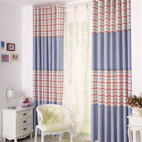 Country Style Blue Plaid Curtains For Kids Room