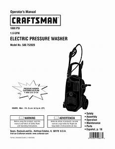 Craftsman 580752020 User Manual Electric Pressure Washer
