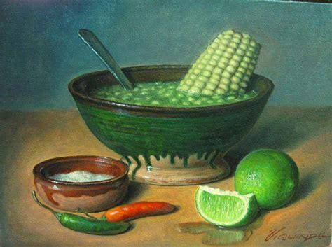 pintura de atole de grano del pintor  escultor uruapense