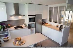cuisine blanche moderne avec verriere et ilot central 3 With deco cuisine pour table blanche