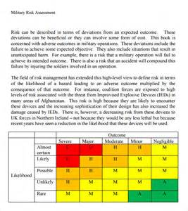 Army Risk Assessment Template