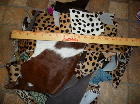 Cowhide Pieces by Hair On Leather 6 To 7 Pounds Craft Sizes Scrap Remnants