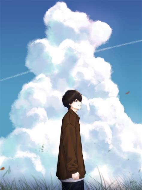 Download 1536x2048 Anime Boy Clouds Profile View Sky Wallpapers For Apple Ipad Miniapple