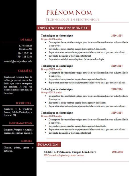 De Cv Word Gratuit by Mod 232 Le Cv Word Gratuit Exemple De Cv Info