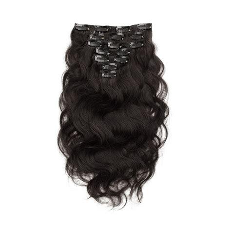 pcs body wavy clip  remy hair extensions  natural black