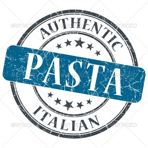 pasta blue  grungy stamp isolated  white background