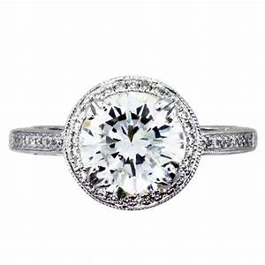 2 carat round diamond halo setting engagement ring boca raton for Diamond wedding ring settings