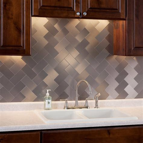 pack kitchen backsplash tile peel  stick metal tiles