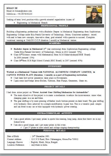 mechanical engineering resume format resume format for