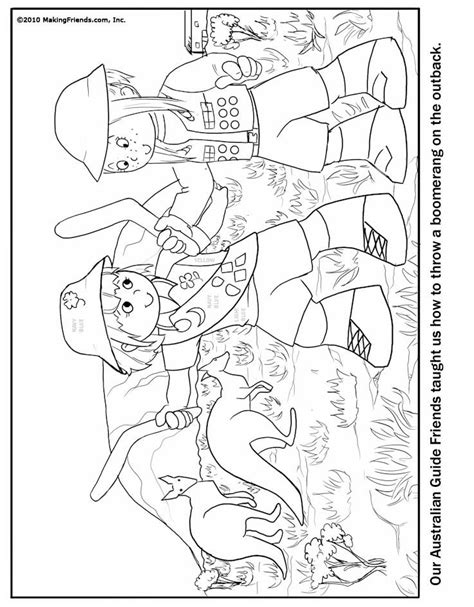australian girl guide coloring page australia thinking