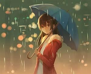 Wallpaper Girl, Rainy Day, Umbrella - WallpaperMaiden