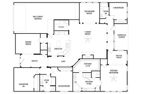 single story 4 bedroom house plans 4 bedroom single story house plans best design for house