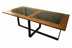 Table Contemporaine Bois Et Metal : table en m tal plateau bois et pierre les ateliers du 4 ~ Teatrodelosmanantiales.com Idées de Décoration