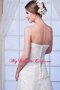 elegant strapless lace appliques button down back wedding With button back wedding dress