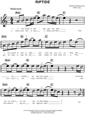 """Finger notations of uku chords. """"Riptide"""" Sheet Music - 18 Arrangements Available Instantly - Musicnotes"""
