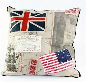 coussin en tissu avec motif drapeau angleterre et etats With affiche chambre bébé avec livraison fleurs etats unis
