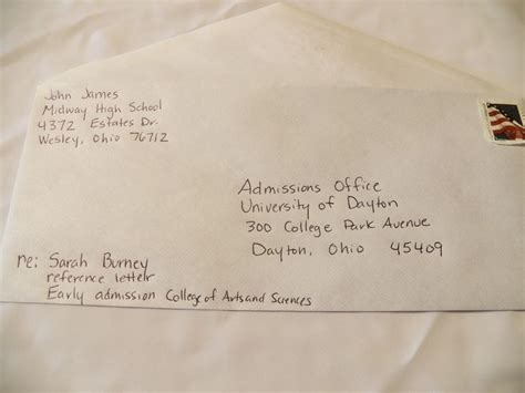 address envelopes  college recommendation