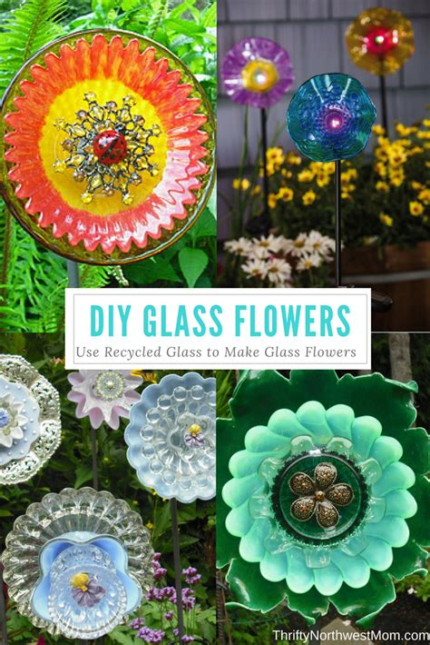 glass flowers  recycled glass plates
