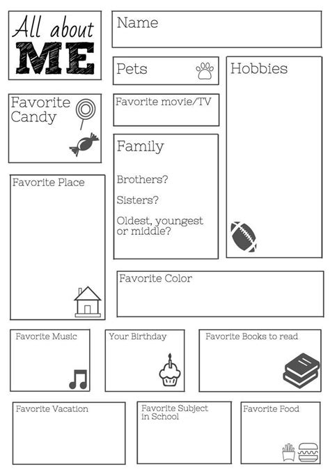 25+ Best Ideas About All About Me Worksheet On Pinterest  All About Me, About Me And About Me