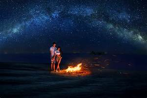 couple in night sky