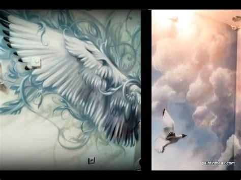bird wings  clouds airbrush mural speed painting