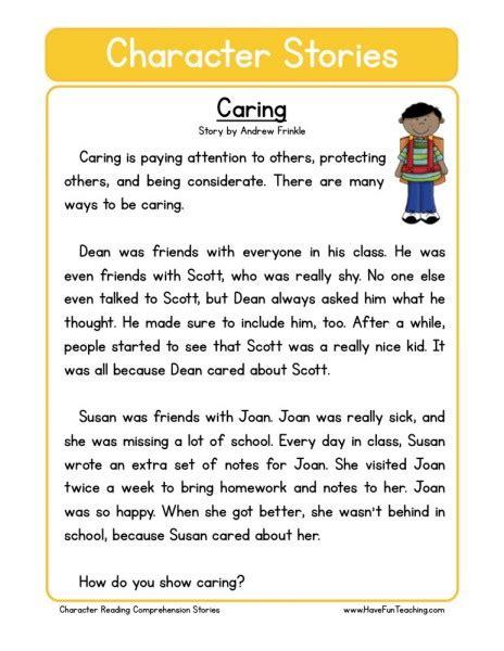 reading comprehension worksheet caring