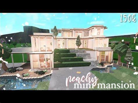 bloxburg peachy mini mansion speed build youtube   house plans mansion family